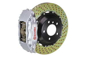 Brembo GT System 4 Piston Front Brake Kit Silver Drilled Rotors - Volkswagen Models (inc. 2015+ GTI)