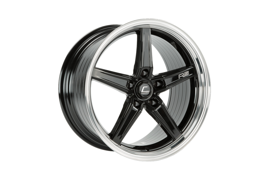 Cosmis Racing Wheels R5 18x10.5 +22 5x120 Black w/ Machined Lip - Universal