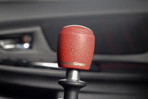 GrimmSpeed Stubby Shift Knob Stainless Steel Red w/ 5SPD Boot Retainer - Subaru 5MT Models (inc. 2002-2014 WRX)