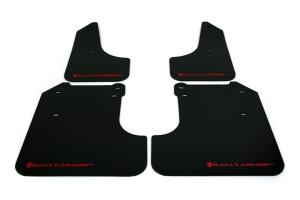 Rally Armor UR Mudflaps Black Urethane Red Logo ( Part Number: MF6-UR-BLK/RD)