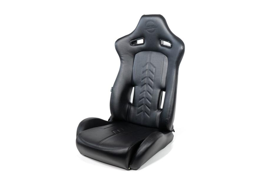 NRG Innovations The Arrow PVC Sports Seats Black w/ Black Stitching (Pair) - Universal