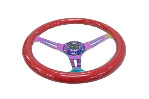 NRG Classic Wood Grain Wheel 350mm Neochrome / Red - Universal