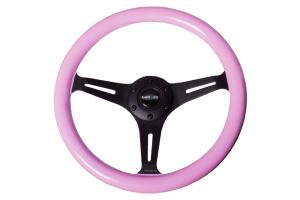 NRG Classic Wood Grain Wheel 350mm Black / Pink - Universal