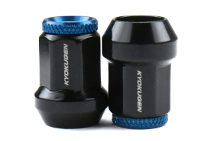 KICS Kyokugen Lug Nuts w/ Aluminum Cap 12x1.50 Black / Blue - Universal
