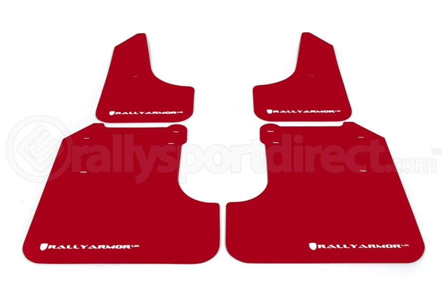 Rally Armor UR Mudflaps Red Urethane White Logo ( Part Number:RAL MF6-UR-RD/WH)