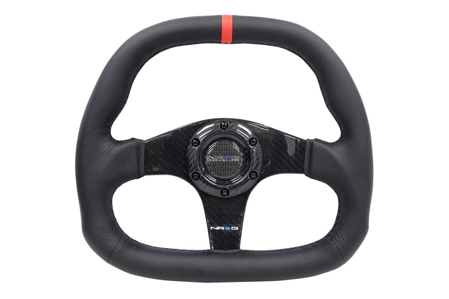 NRG Carbon Fiber Steering Wheel 320MM Black w/ Red Stripe - Universal