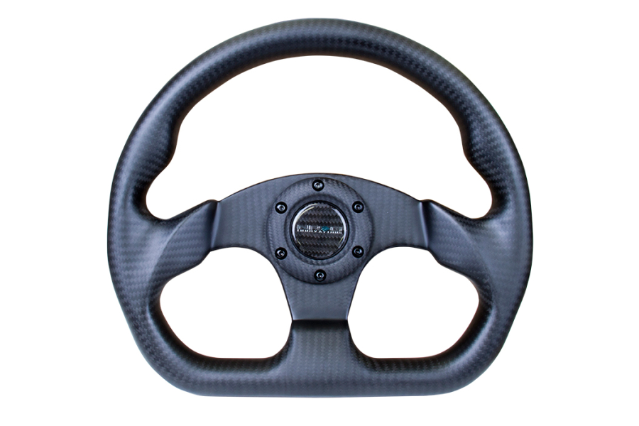 NRG Carbon Fiber Steering Wheel 320mm Flat Bottom Matte Black - Universal