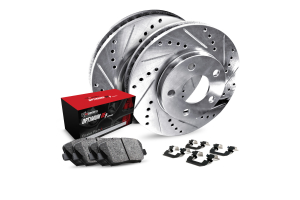 R1 Concepts Rear Brakes w/ Silver Drilled and Slotted Rotors, 5000 OEP Brake Pads and Hardware - Subaru Models (inc. 2000-2004 Legacy / 2003-2006 Baja)