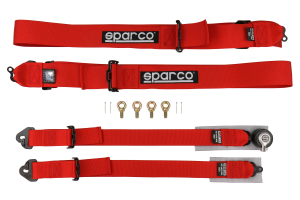 Sparco 2in/3in 4-point Harness Red Snap-On (Part Number: )