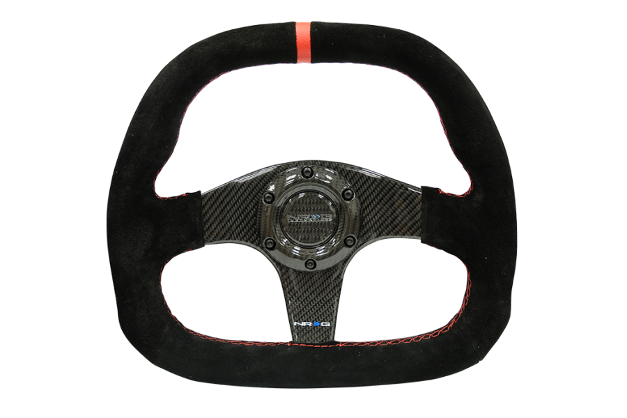 NRG Carbon Fiber Steering Wheel 320MM Suede Black w/ Red Stripe - Universal