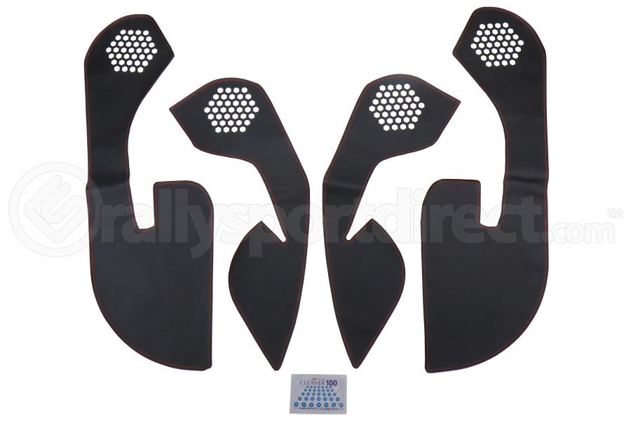 OLM Leather Look Kick Guard Protection Set w/ Red Stitching (For Non-Harmon Kardon Systems) - Subaru WRX / STI 2015 - 2020