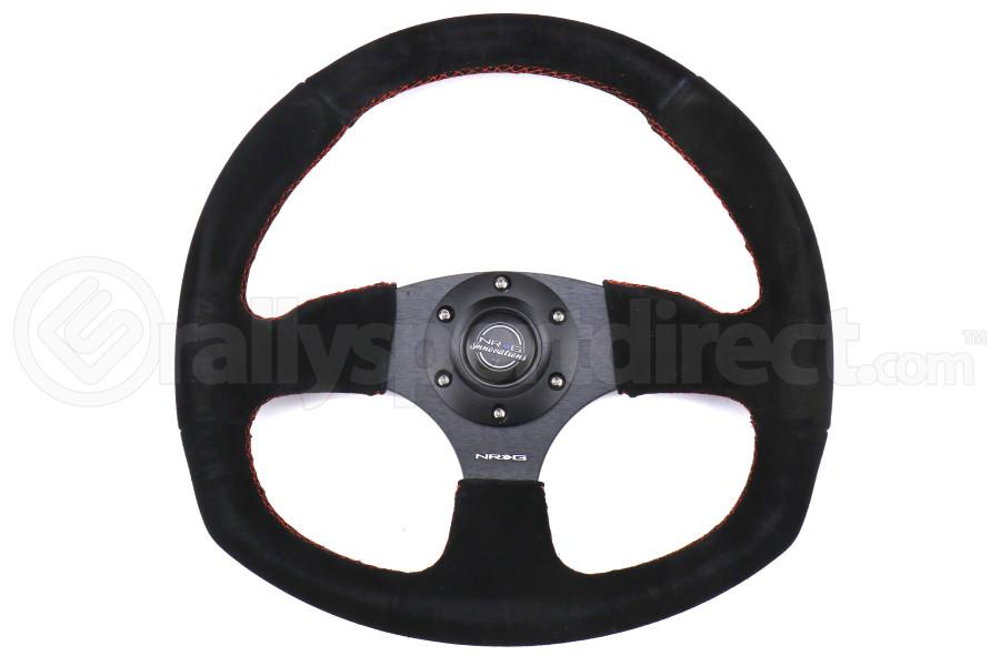 NRG Reinforced Steering Wheel Flat Bottom Suede w/ Red Stitch - Universal