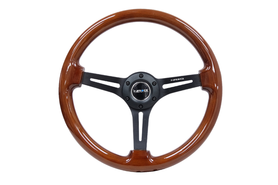 NRG Reinforced Classic Wood Grain Wheel 350mm Black / Brown - Universal