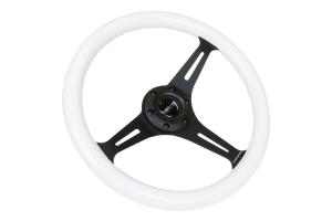 NRG Classic Wood Grain Wheel 350mm Black / White - Universal