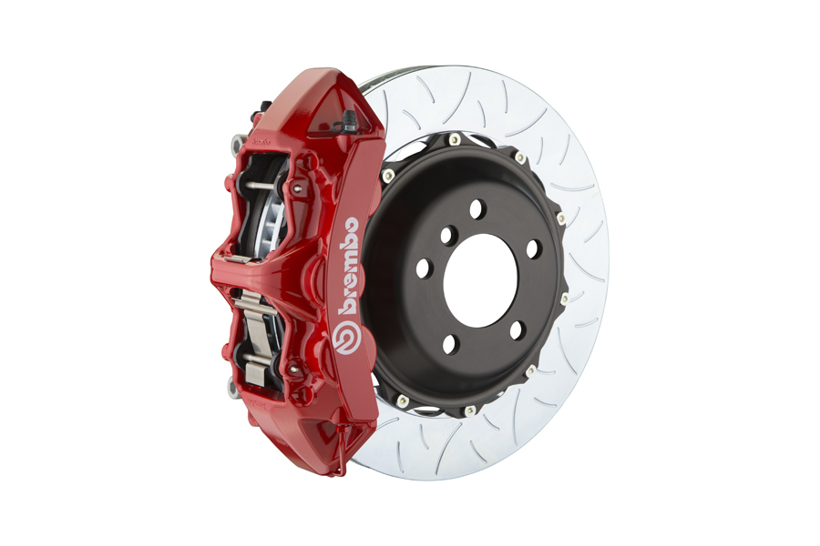 Brembo GT System 6 Piston Front Brake Kit Red Type 3 Slotted Rotors - Volkswagen Models (inc. 2015+ GTI)