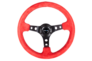 NRG Reinforced Steering Wheel 350mm 3in Deep Black / Red Suede - Universal