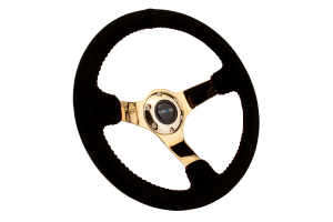 NRG Reinforced Steering Wheel 350mm Suede 3in Deep Gold w/ Red Stitch - Universal