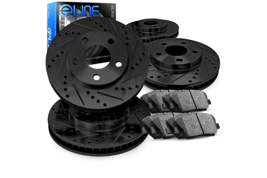 R1 Concepts E- Line Series Brake Package w/ Black Drilled and Slotted Rotors and Ceramic Pads - Subaru Models (inc. 2016-2019 WRX / 2016-2018 Outback)
