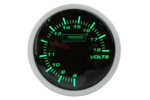 ProSport Volt Gauge Green/White 52mm ( Part Number: 216BFWGVOSM)