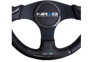 NRG Carbon Fiber Steering Wheel 350mm Black Rubber Horn - Universal