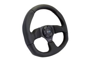 NRG Reinforced Steering Wheel Flat Bottom Black - Universal