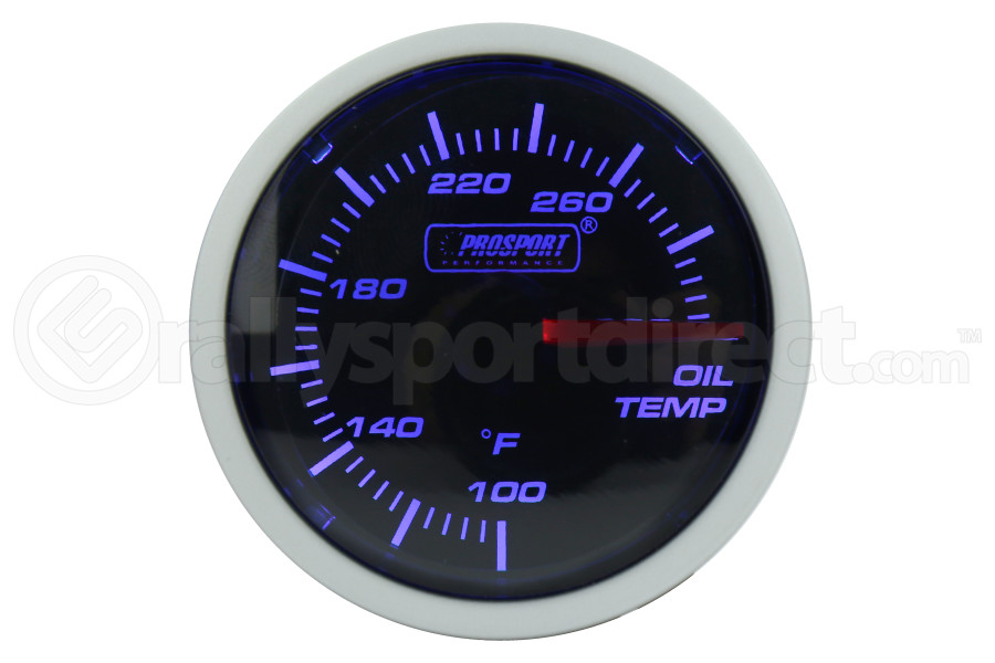 ProSport Oil Temperature Gauge Electrical w/Sender 52mm Blue/White (Part Number:216BFWBOTSM.F)