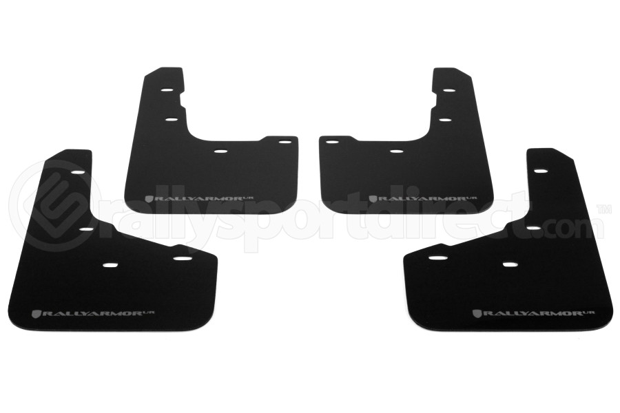 Rally Armor UR Mudflaps Black Urethane Grey Logo (Part Number:MF29-UR-BLK/GRY)