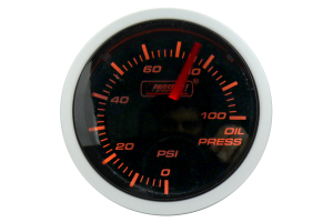 ProSport Oil Pressure Gauge Electrical w/Sender Amber/White 52mm ( Part Number: 216BFWAOPSM.PSI)