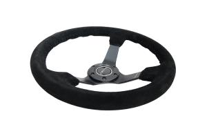NRG Reinforced Steering Wheel 350mm Suede 3in Deep Black - Universal