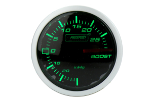 ProSport Boost Gauge Electrical w/ Sensor 52mm Green/White (Part Number: )