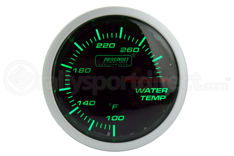 ProSport Water Temperature Gauge Electrical w/Sender 52mm Green/White ( Part Number:PRS 216BFWGWTSM.F)