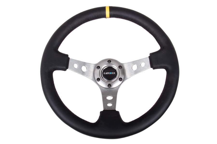 NRG Reinforced Steering Wheel 350mm 3in Deep Gun Metal w/ Yellow Stripe - Universal