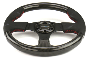 NRG Carbon Fiber Steering Wheel 315mm Perforated Black w/ Red Stitch - Universal