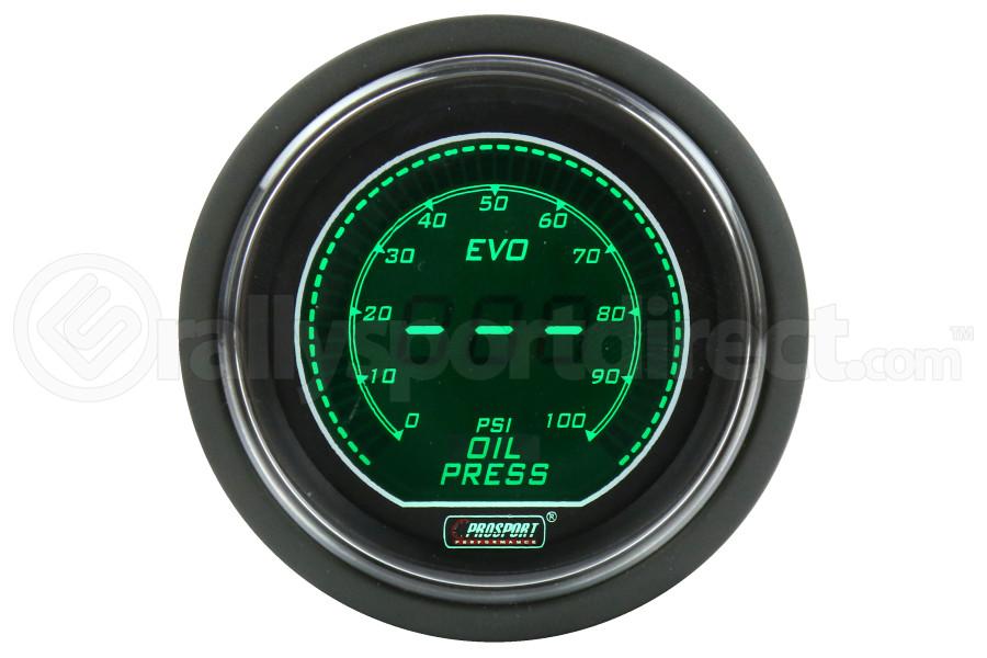 ProSport Digital Evo Oil Pressure Gauge w/Sender Green/White 52mm ( Part Number:PRS 216EVOWGEOP.PSI)