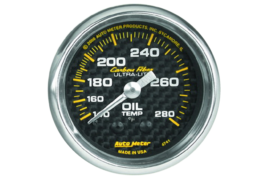 Autometer Carbon Fiber Oil Temperature Gauge Mechanical 52mm - Universal