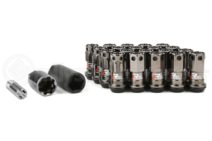 KICS R40 Iconix Lock and Nut Lug Nut Set w/Black Plastic Cap M12X1 50 Black