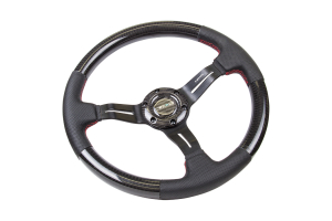 NRG Carbon Fiber Steering Wheel 350mm 1.5in Dish w/Leather Accent and Deep Red Stitching - Universal