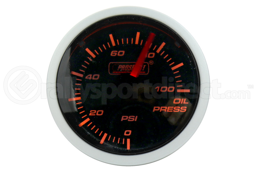 ProSport Oil Pressure Gauge Electrical w/Sender Amber/White 52mm (Part Number:216BFWAOPSM.PSI)