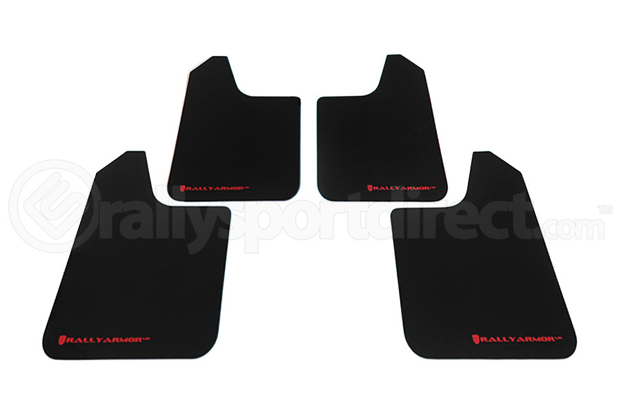 Rally Armor Universal UR Mudflaps Black Urethane Red Logo (Part Number:MF12-UR-BLK/RD)