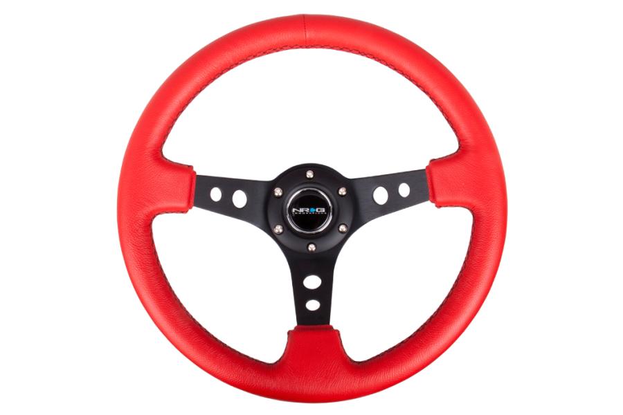 NRG Reinforced Steering Wheel 350mm 3in Deep Black / Red - Universal