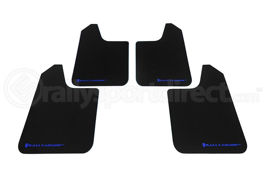 Rally Armor Universal UR Mudflaps Black Urethane Blue Logo (Part Number:MF12-UR-BLK/BL)