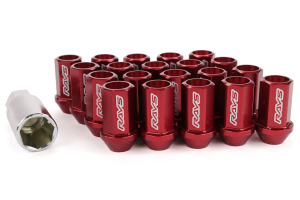 Volk Racing Dura-Nut L42 Straight Type M12X1.50 Lock and Nut Set Red (Part Number: )