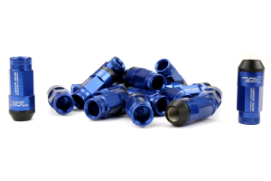 KICS Leggdura Racing Shell Type Lug Nut Set 53mm Open-End Look 12X1.25 Blue (Part Number: WRL5313U)