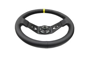 NRG Reinforced Steering Wheel Arrow Cut Out 350mm Black w/ Yellow Stripe - Universal