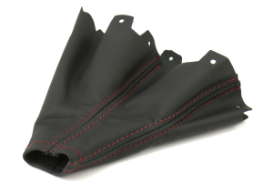 AutoStyled Black Leather Shift Boot w/ Red Stitching Standard Shifter - Subaru STI 2008-2014