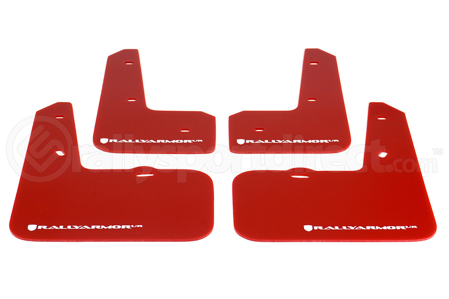 Rally Armor UR Mudflaps Red Urethane White Logo (Part Number:MF24-UR-RD/WH)