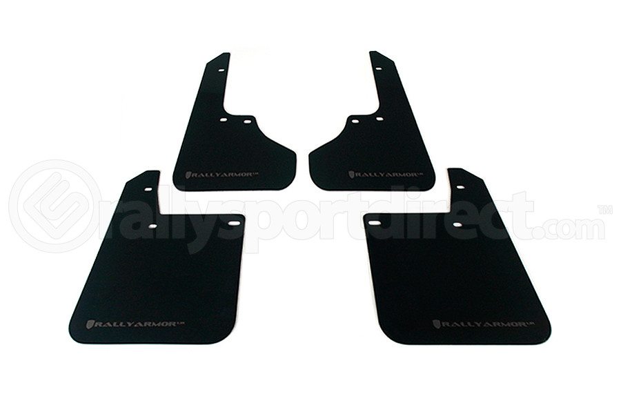 Rally Armor UR Mudflaps Black Urethane Grey Logo (Part Number:MF2-UR-BLK/GRY)
