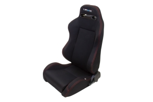 NRG Innovations Type R Cloth Sport Seats Black w/ Red Stitching (Pair) - Universal