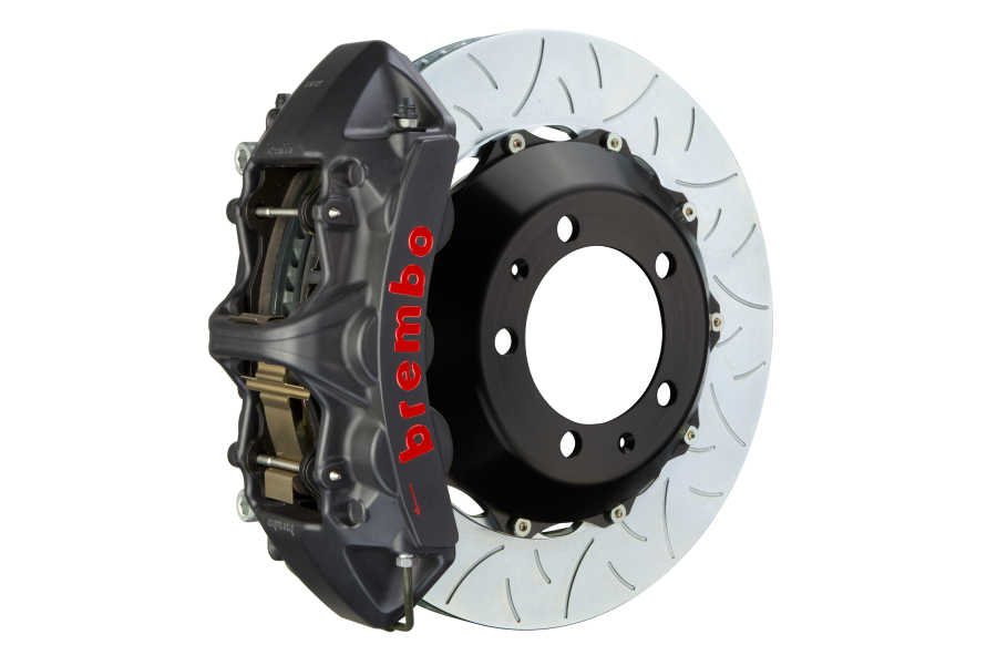 Brembo GT Systems 6 Piston Front Big Brake Kit Black Slotted Rotors - Mitsubishi Evo X 2008-2015