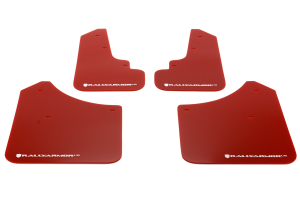 Rally Armor UR Mudflaps Red Urethane White Logo ( Part Number: MF5-UR-RD/WH)
